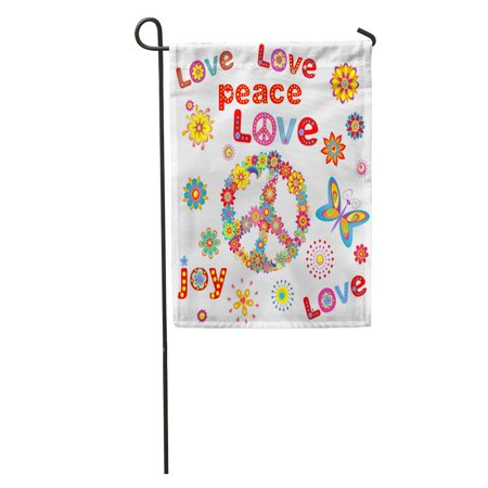 LADDKE Colorful Hippy Flower Power Party 60S 70S Peace Seventies Sixties Garden Flag Decorative Flag House Banner 12x18 inch - 70s Party