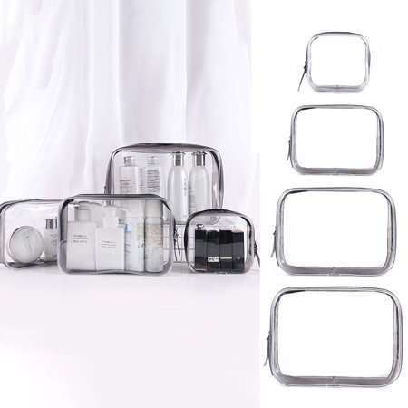 3 in 1 S M L XL Women Lady Fashiob PVC Clear Cosmetic Makeup Toiletry Bag Case Travel Holder Pouch Wash Tool (Clear Pouch)