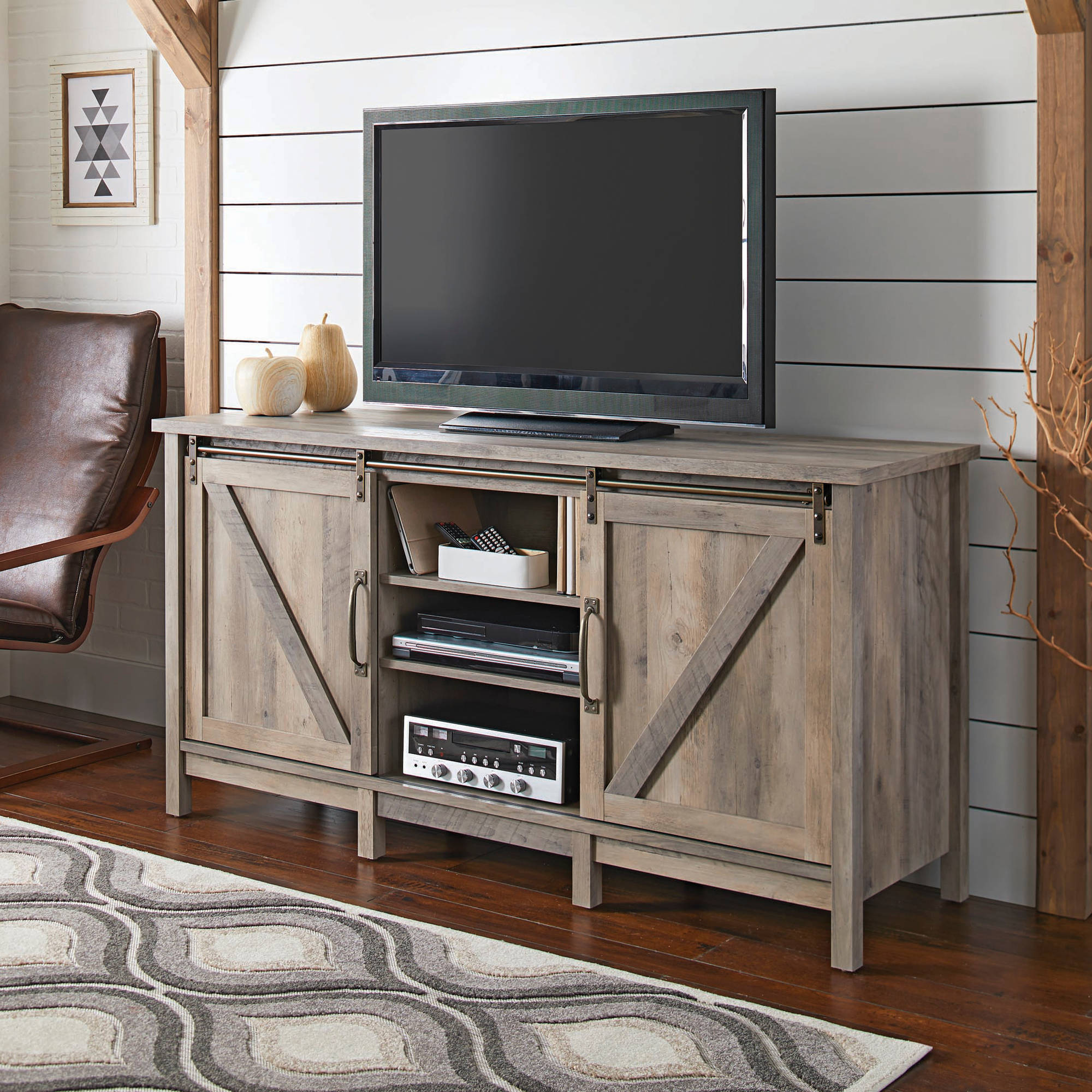 "Better Homes and Gardens Modern Farmhouse TV Stand for TVs up to 60"", Rustic Gray Finish"