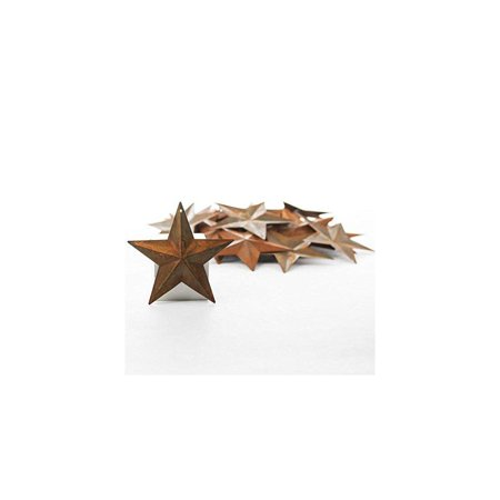 factory direct craft package of 50 rusted tin dimensional miniature barn stars with hole and hollow backs (Factory Craft Direct)