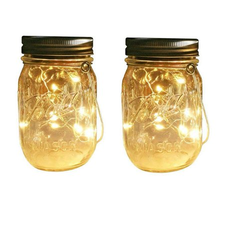 Outdoor Decor Warm White Led Solar Mason Jar Lights 2 Pcs Starry Fairy String Insert With Decorative Accessories On Porch Fireplace