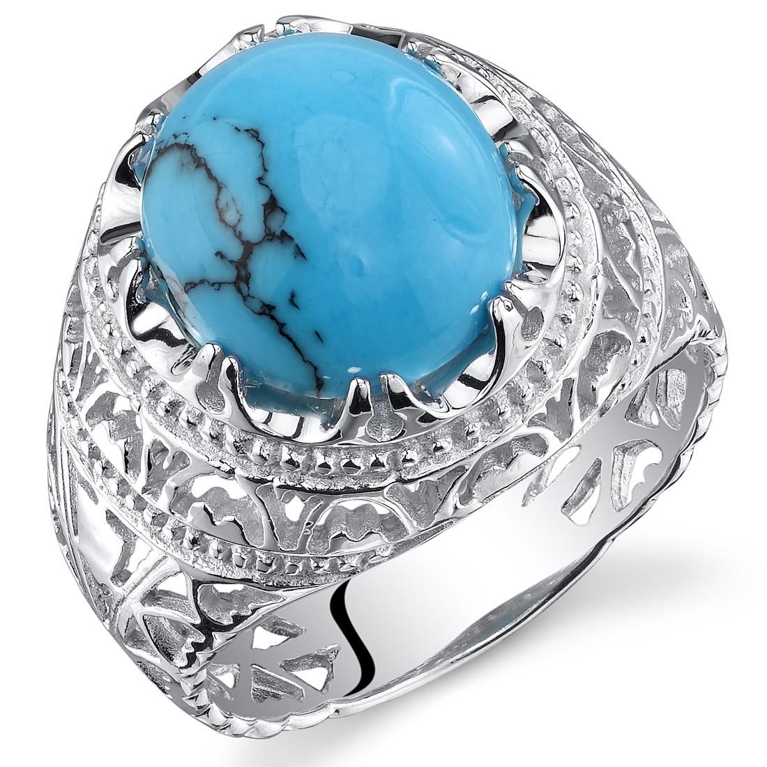Peora Turquoise Men's Medieval Engagement Ring in Rhodium-Plated Sterling Silver