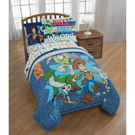Disney Toy Story 4 Twin/Full Comforter Set w/ Woody, Buzz, Forky & Rex ()