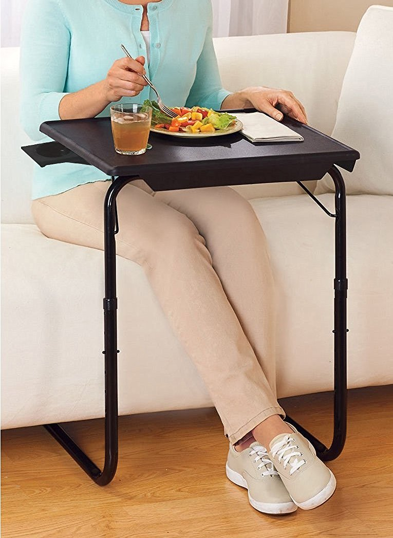 tv table. portable \u0026 foldable comfortable tv tray table w/cup holder -black tv