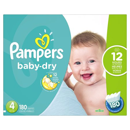 Baby-Dry Disposable Diapers Size 4, 180 Count, ECONOMY PACK PLUS