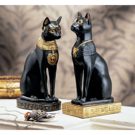 Design Toscano Egyptian Cat Goddess Bastet Statues (Set of Two) - Egyptian Cat Goddess