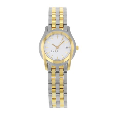 Pre-Owned Gucci 5500L YA055528 White Dial Gold Tone Stainless Steel Quartz Ladies Watch