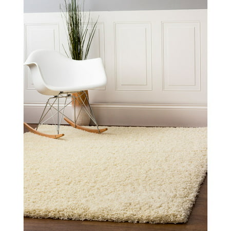 Super Area Rugs  Cozy Plush Vanilla Cream Solid Shag Rug  2 X 3