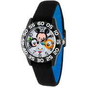 Disney Tsum Tsum, Mickey Mouse, Goofy, Pluto and Donald Boys' Black Plastic Time Teacher Watch, Reversible Black and Blue Nylon Strap
