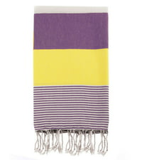 Swan Comfort 100% Organic Turkish Cotton Absorbent Beach & Bath Towel - Purple - Yellow