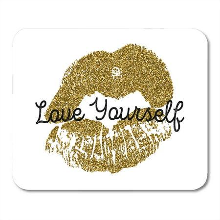 LADDKE Gold Lips on Kiss Pattern Woman Lipstick Mark Mousepad Mouse Pad Mouse Mat 9x10 (Name Something Women Leave Lipstick Marks On)