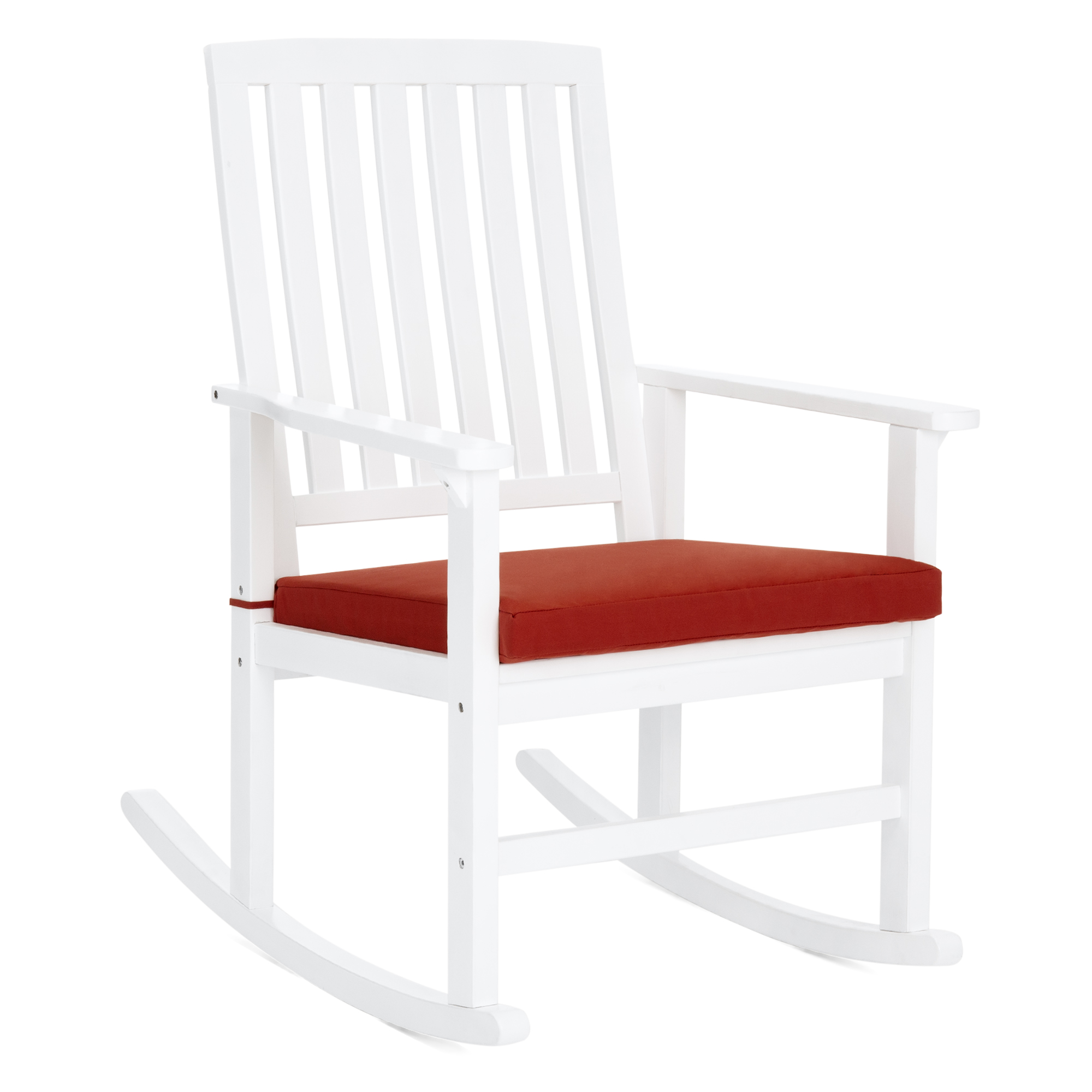 Best Choice Products Indoor Outdoor Home Furniture Wooden Patio Rocking Chair Porch Rocker Set Glider Furniture w/ Seat Cushion - White/Red