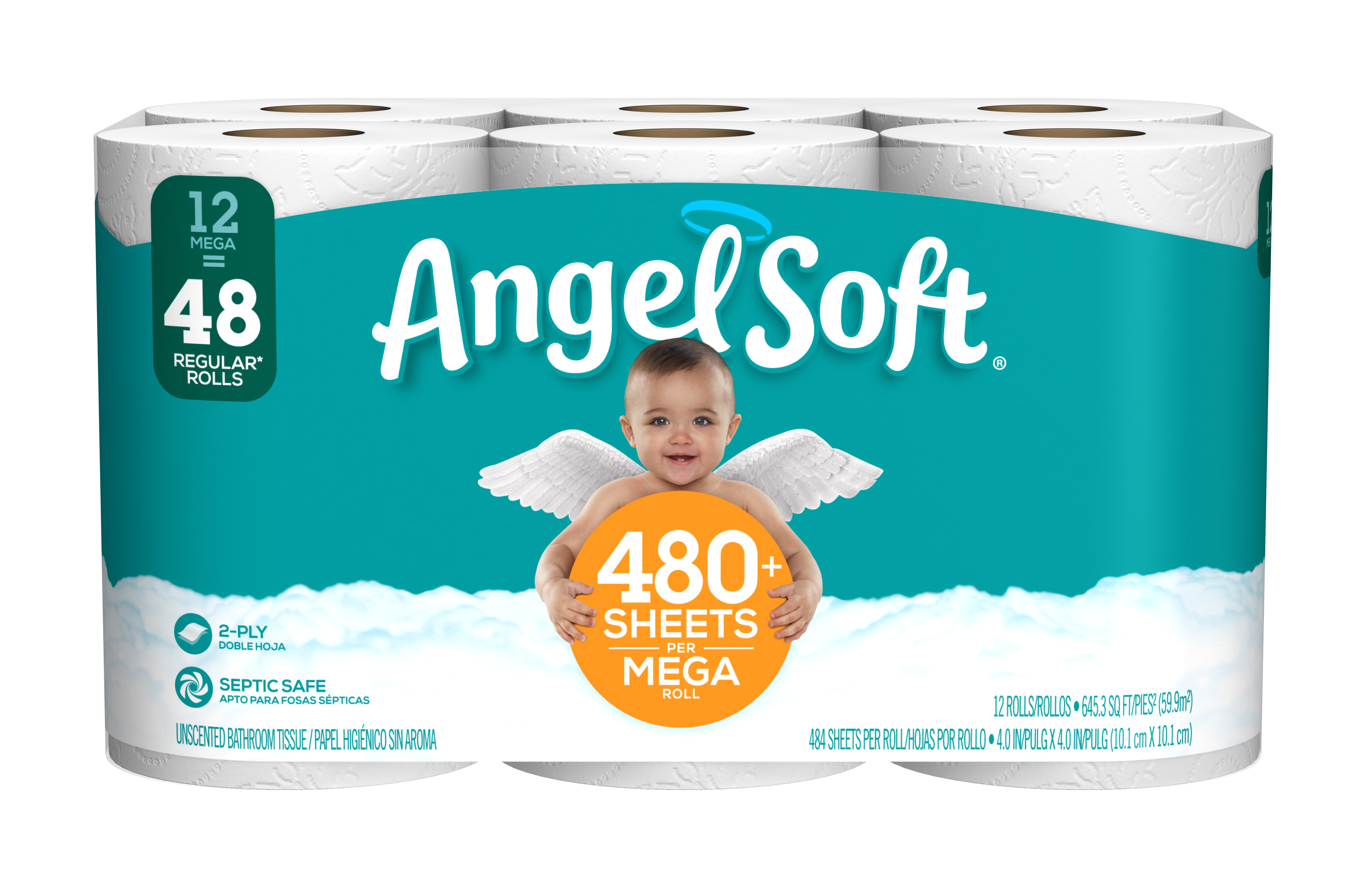 Angel Soft Toilet Paper, 12 Mega Rolls by Georgia Pacific