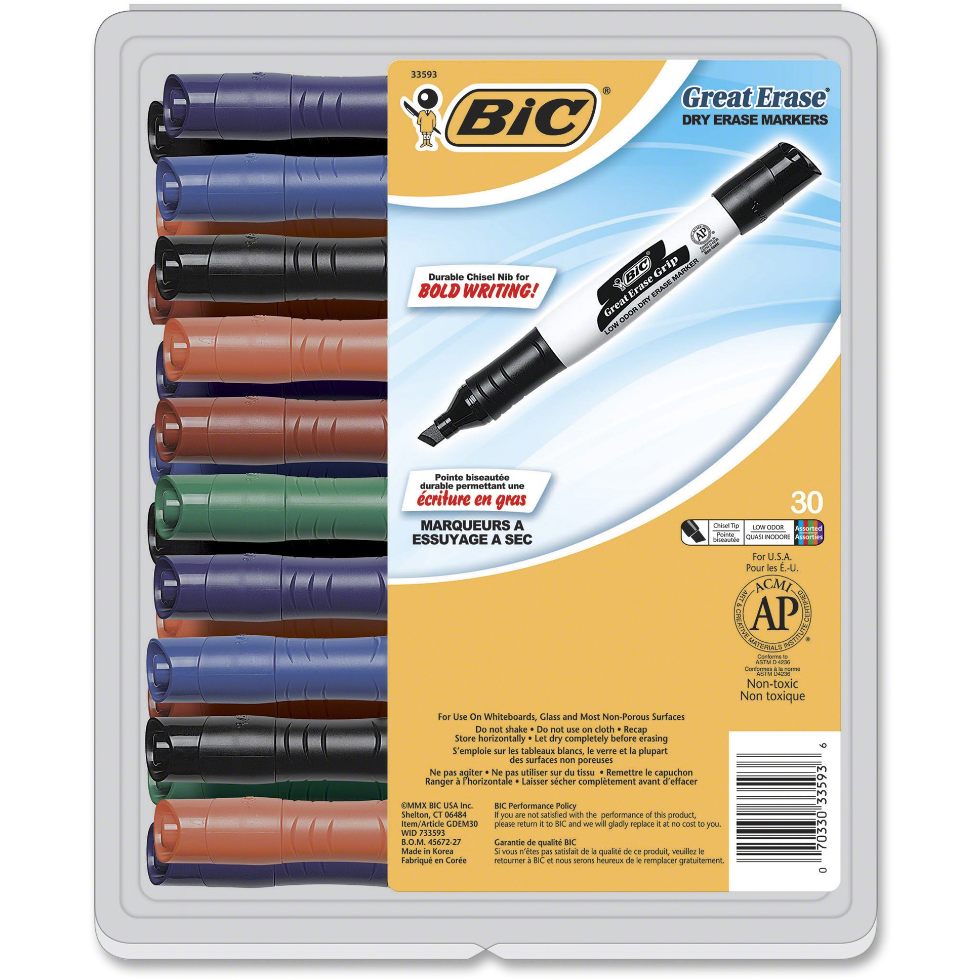 BIC Great Erase Grip Dry Erase Marker, Tank Style, Chisel Tip, Assorted Colors, 30-Count