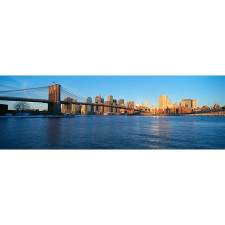 Panoramic view of Brooklyn Bridge and East River at sunrise with New York City where World Trade Towers were located NY Poster Print