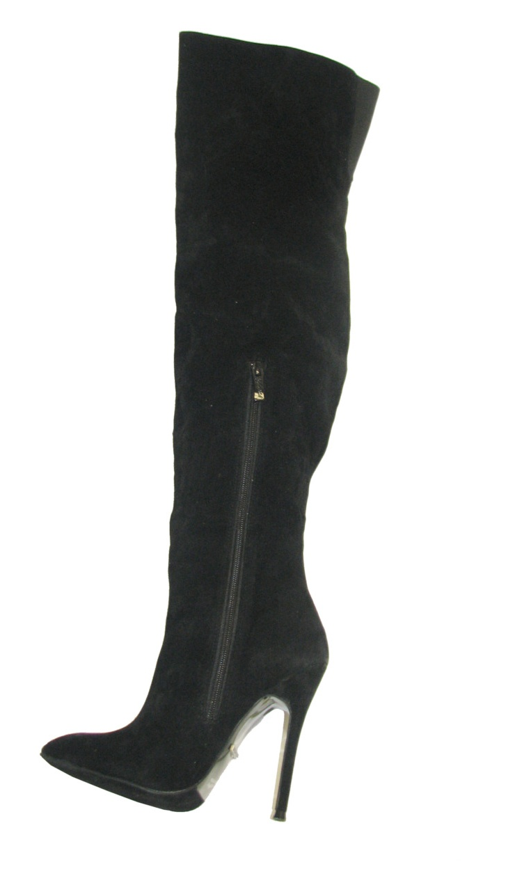 """Highest Heel Womens 4.5"""" Knee High Snake Covered Rear Black Suede Boots"""