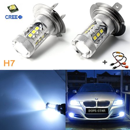 Xotic Tech Ice Blue 80W Error Free H7 LED Kit w/ Decoders for BMW E46 3 High Beam Daytime Running