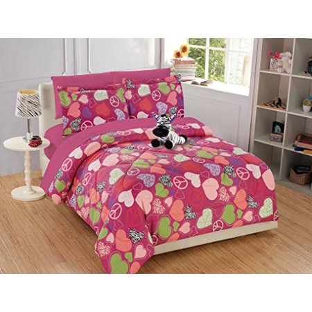 Fancy Linen 8pc Full Comforter Set Zebra Heart Peace Sign Pink With Furry Buddy New