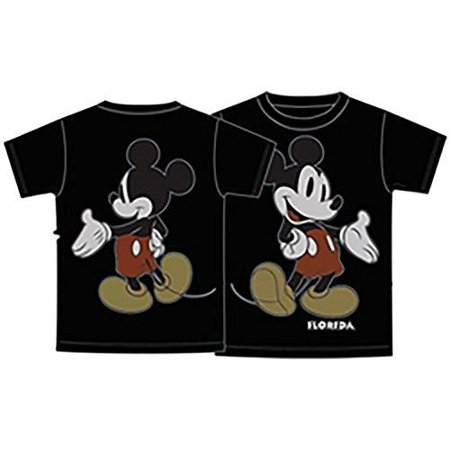 Disney Mickey Mouse Front Back Tee Adult Unisex T Shirt Black