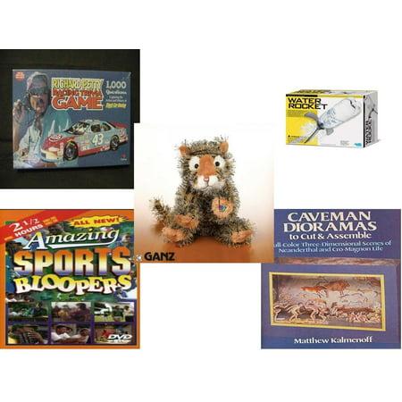 Children's Gift Bundle [5 Piece] -  Richard Petty Racing Trivia  - 4M Water Rocket Kit  - Webkinz Collectible Lil'Kinz Mini  Stuffed Animals Tiger 7