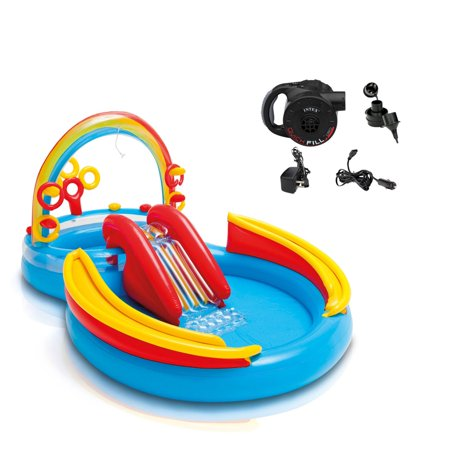 Intex Inflatable Pool Rainbow Ring Play Center w/ Slide & Quick Fill Air Pump (Inflatable Ring Pool)