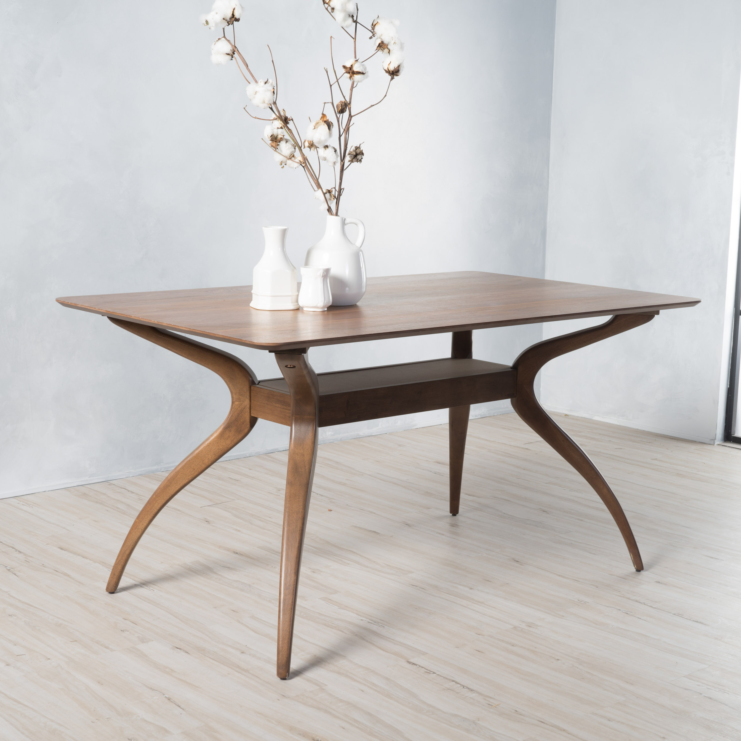Noble house logan natural walnut finish wood dining table walmart com
