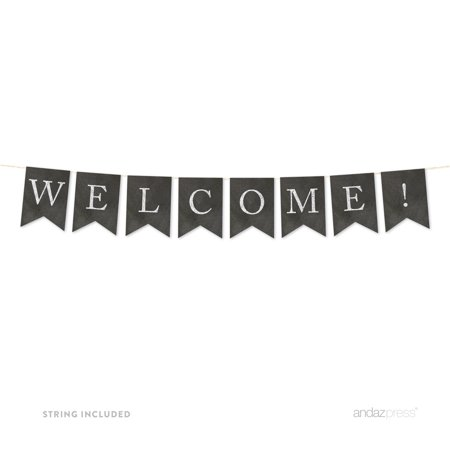 Welcome! Vintage Chalkboard Pennant Party