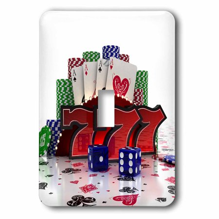 Double Dice Poker Chips - 3dRose Casino concept with poker cards chips dice and slot style sevens, Double Toggle Switch