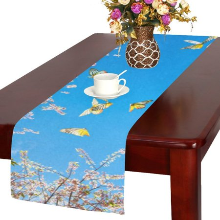 MYPOP Cherry Blossom And Butterflies Kitchen Dining Table Runner 14x72 inch For Dinner Parties, Events, Decor