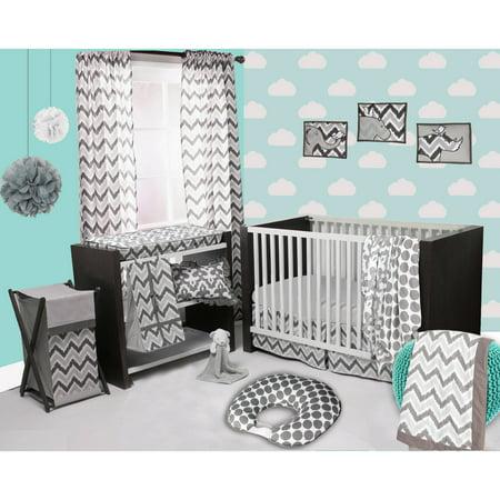 Bacati Ikat 3 Piece Crib Bedding Set  White Grey