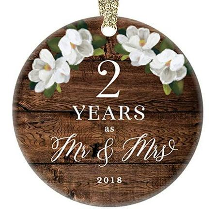 2019 Christmas Ornament 2nd Second Wedding Anniversary Keepsake