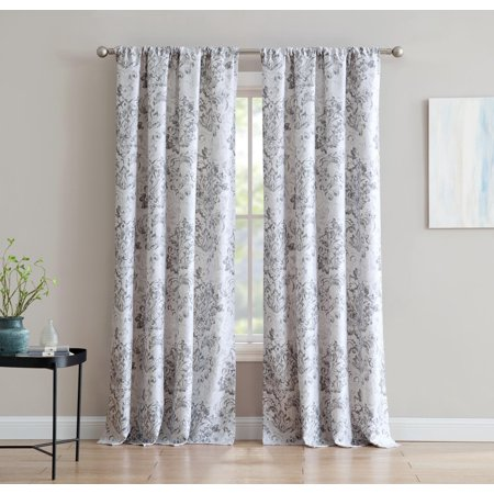 Damask Drapes - An Damask 84-inch Window Curtain with Rod Pocket - Grey - Single Panel, Inspired Surroundings by 1888 Mills