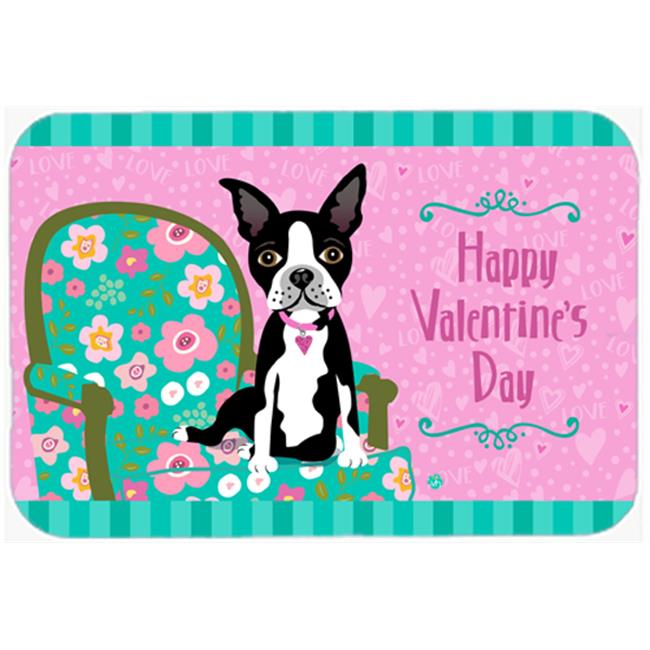 Carolines Treasures VHA3001JCMT Happy Valentines Day Boston Terrier Kitchen or Bath Mat, 24 x 36