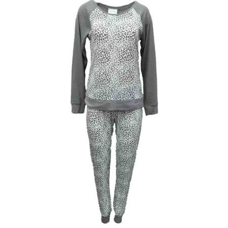 Willow Bay Womens Gray White Leopard Print Pajamas Soft Knit Pajama Sleep Set (Leopard Print Pajamas)