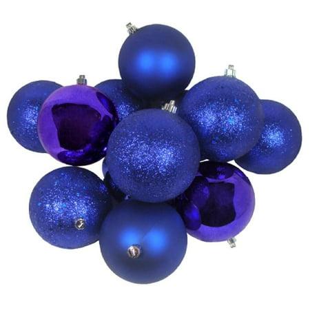 16ct Cobalt Blue Shatterproof 4-Finish Christmas Ball Ornaments 3