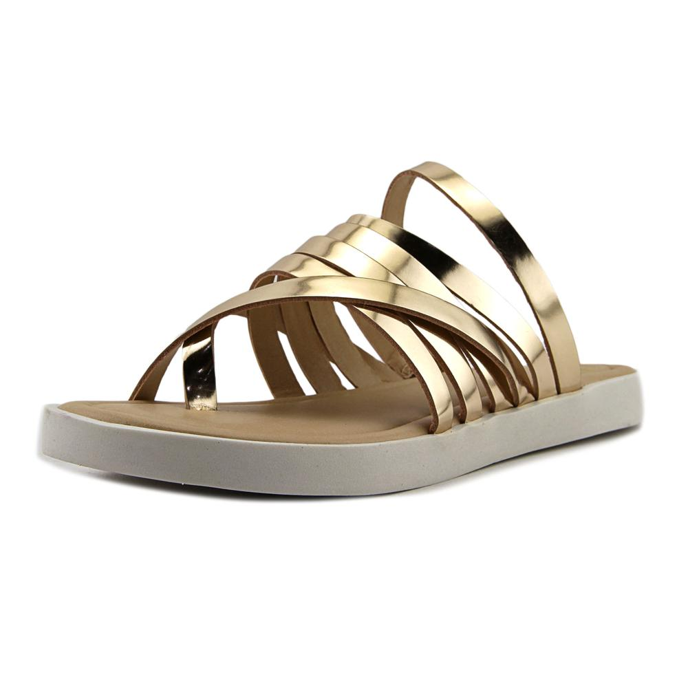 LFL Jupiter Women  Open Toe Leather Gold Slides Sandal
