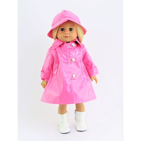 Pink Rain Coat with Hat - Rainboots & Doll NOT INCLUDED- Fits 18