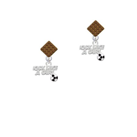 Kick Like a Girl with Enamel Soccer Ball Brown Crystal Diamond-Shape Earrings - Girls Kick Balls