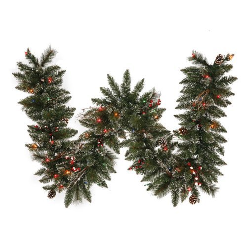 Vickerman 9 ft. Pre-Lit Snow Tip Pine and Berry Garland - Multi Colored