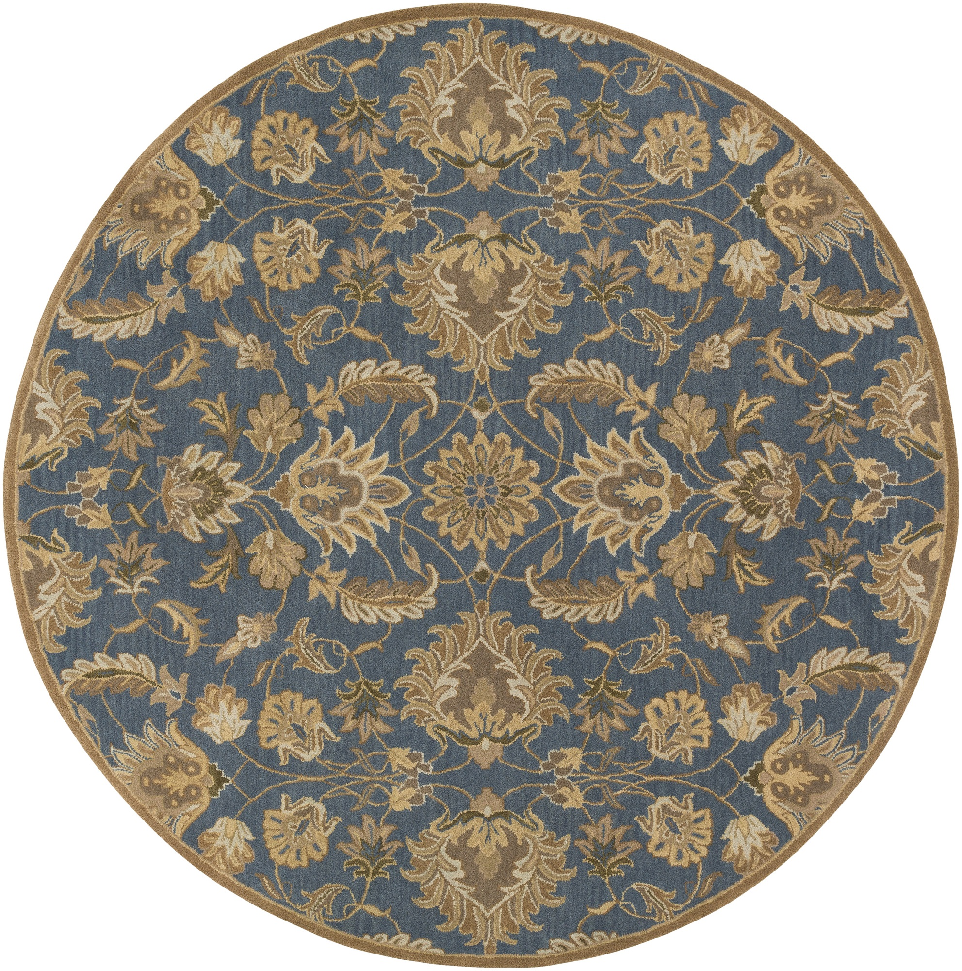 8' Brown and Blue Floral Pattern Hand-Tufted Round Area Throw Rug