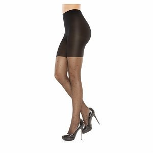 Assets by Sara Blakely Sheers Pin Dot Textured Shaping Pantyhose, Black, - Blakely Halloween