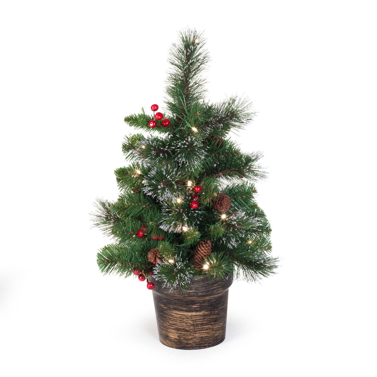 National Tree Pre-Lit 2' Crestwood Spruce Small Artificial Christmas Tree with Silver Bristle, Cones, Red Berries and Glitter in a Plastic Bronze Pot with 35 Battery Operated Clear LED Lights