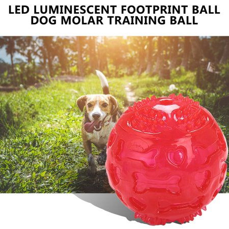 LED Luminous Footprint Ball Dog Molar Interactive Elasticityteeth Bal Dog Toy - image 3 of 8