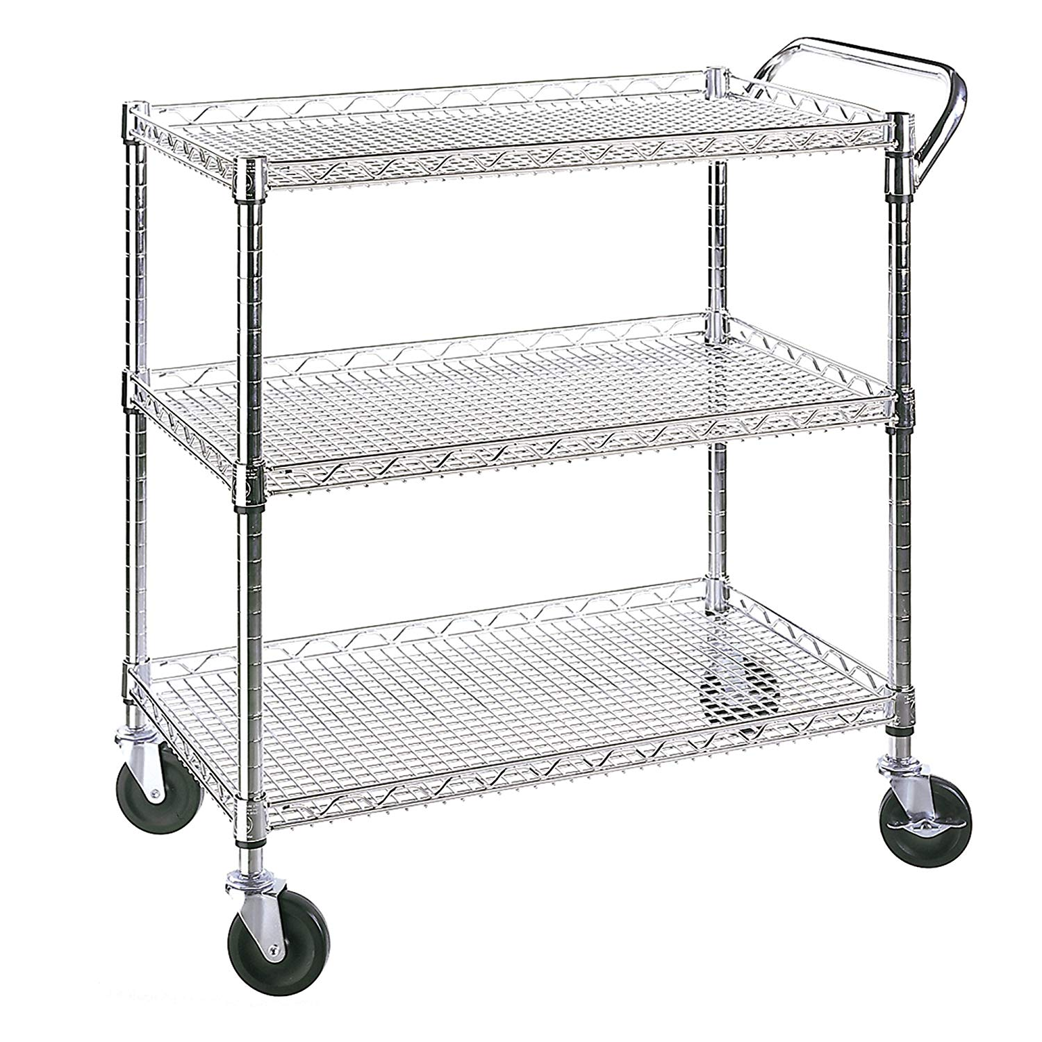 3-Tier Commercial Rolling Utility Cart, UltraZinc by Seville Classics