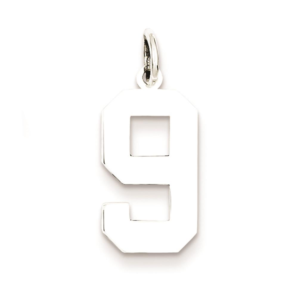Medium Polished Number 9 Charm Pendant 925 Sterling Silver