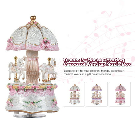 Luxury Dream 3-Horse Rotating Carousel Merry-go-round Windup Music Box with Colorful Color Change LED Luminous Light Melody of Castle in the Sky Artware Birthday Valentine Gift (Disney Carousel Music Box)