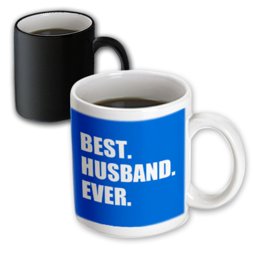 3dRose Blue Best Husband Ever - white text anniversary valentines day for him, Magic Transforming Mug, 11oz