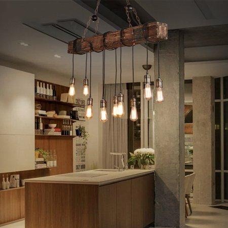 46'' 110V Wood Beam Pendant Chandelier Lighting Fixture for Kitchen Hallway Bar Coffee Shop Diningroom Decor(10 Bulbs not Included) Currey Wood Chandelier