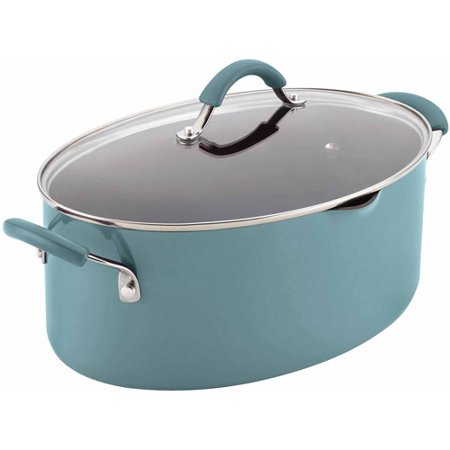 Rachael Ray Cucina Hard Enamel Nonstick 8-Qt Covered Oval Pasta Pot with Pour Spout