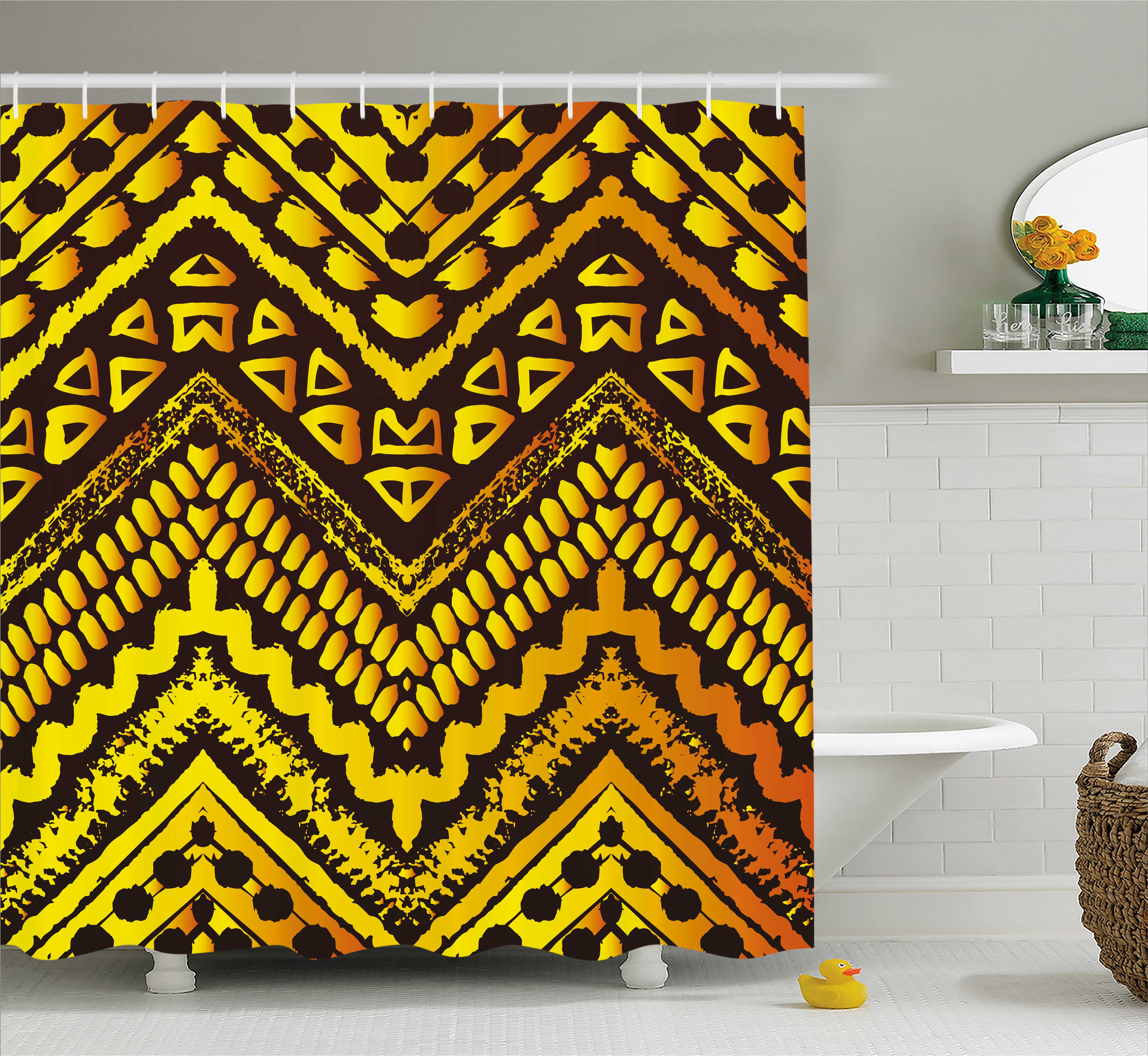 Tribal Shower Curtain, Hand Drawn Painted Ethnic Pattern with Zig Zag and Stripes African Geometric Art, Fabric Bathroom Set with Hooks, 69W X 70L Inches, Yellow Black, by Ambesonne